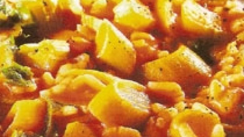 Gjellë me presh, selino e domate