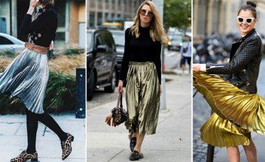 Funde midi ngjyrë metalike: Model i cili do të dominojë veshjet tua verore