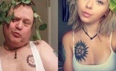 Babai turpëron fëmijët duke imituar 'selfiet' e tyre (Foto)