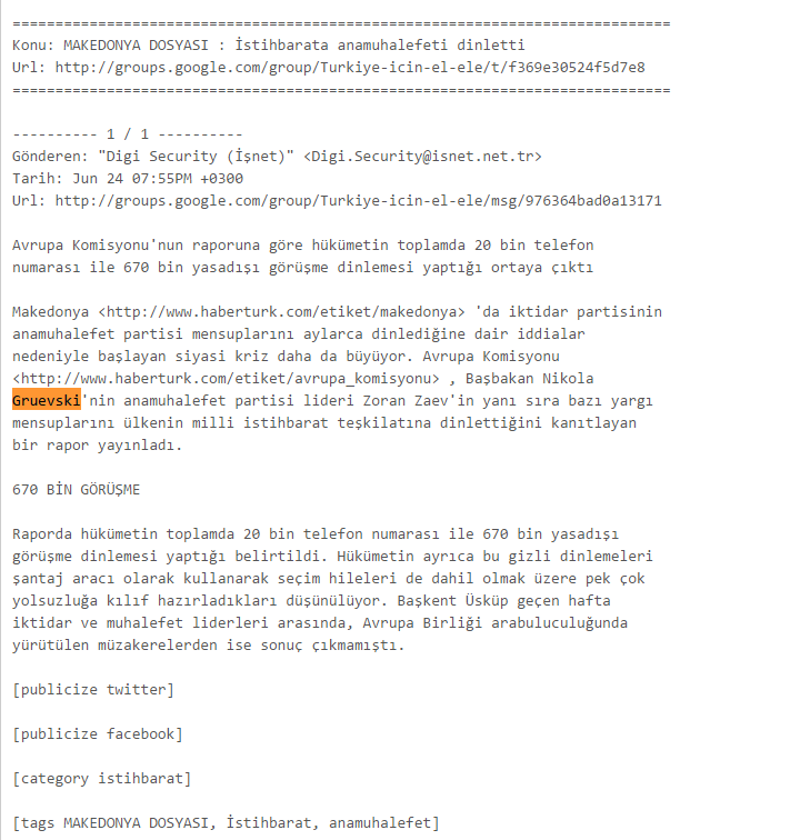 WikiLeaks Search the AKP email database
