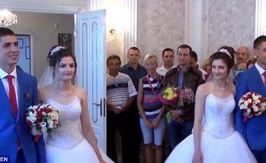 Motrat binjake martohen me vëllezërit binjakë, shikoni reagimin e dasmorëve (Foto/Video)