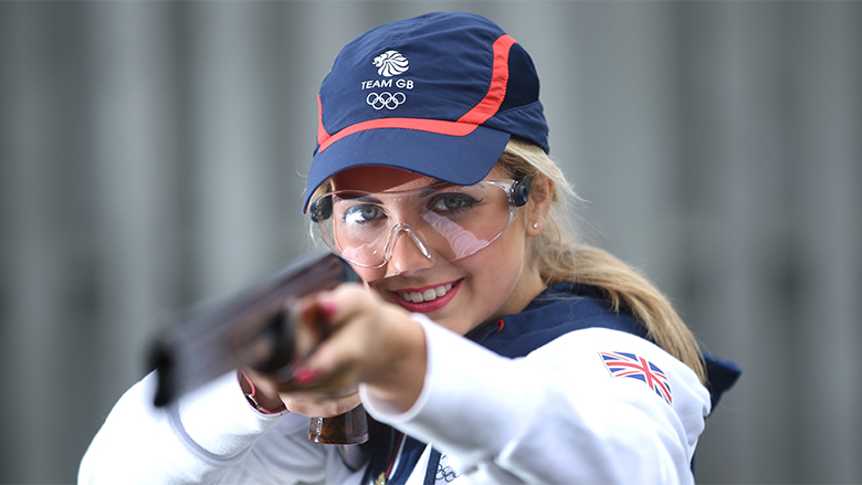 (EDITORS NOTE: IMAGE EMBARGOED BEFORE 10th NOVEMBER 2015) 18yr old Amber Hill poses for a portrait as she is selected for the Team GB Shooting Team for Rio 2016 Olympic Games at the E.J.Churchill Shooting Ground on November 02, 2015 in High Wycombe, England. *** Local Caption *** Amber Hill