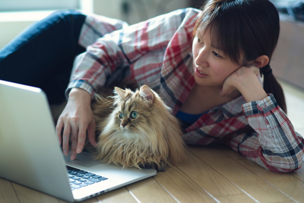 Girl operating notebook on floor with cat