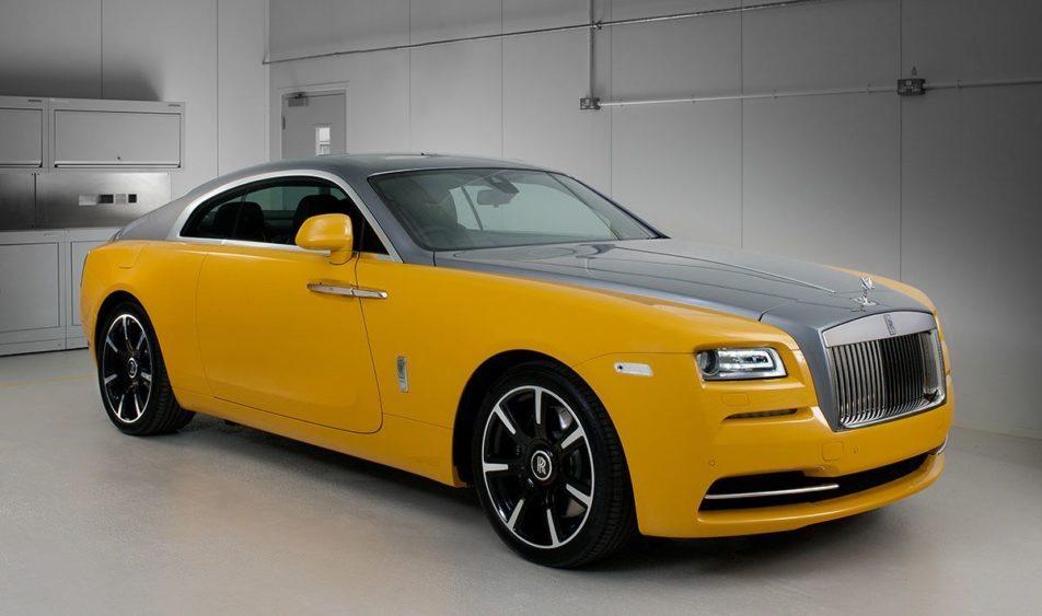 Rolls Royce Wraith i mbuluar me ngjyre te verdhe ari foto 2