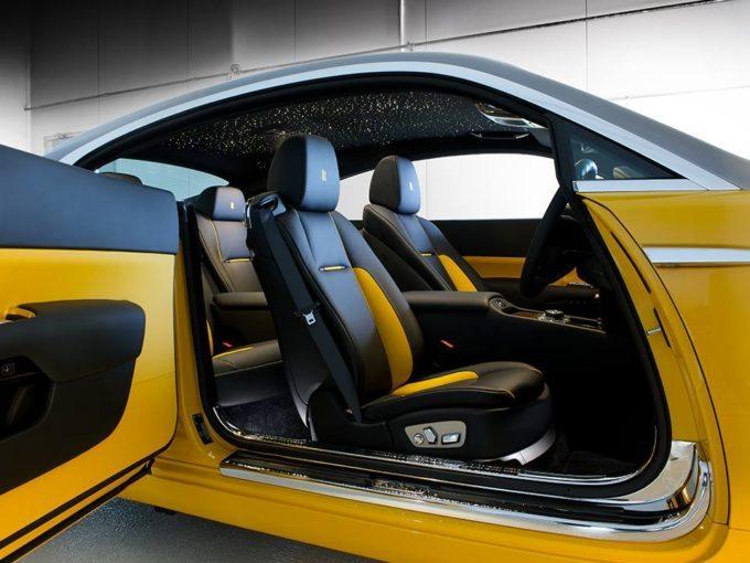 Rolls Royce Wraith i mbuluar me ngjyre te verdhe ari foto 3