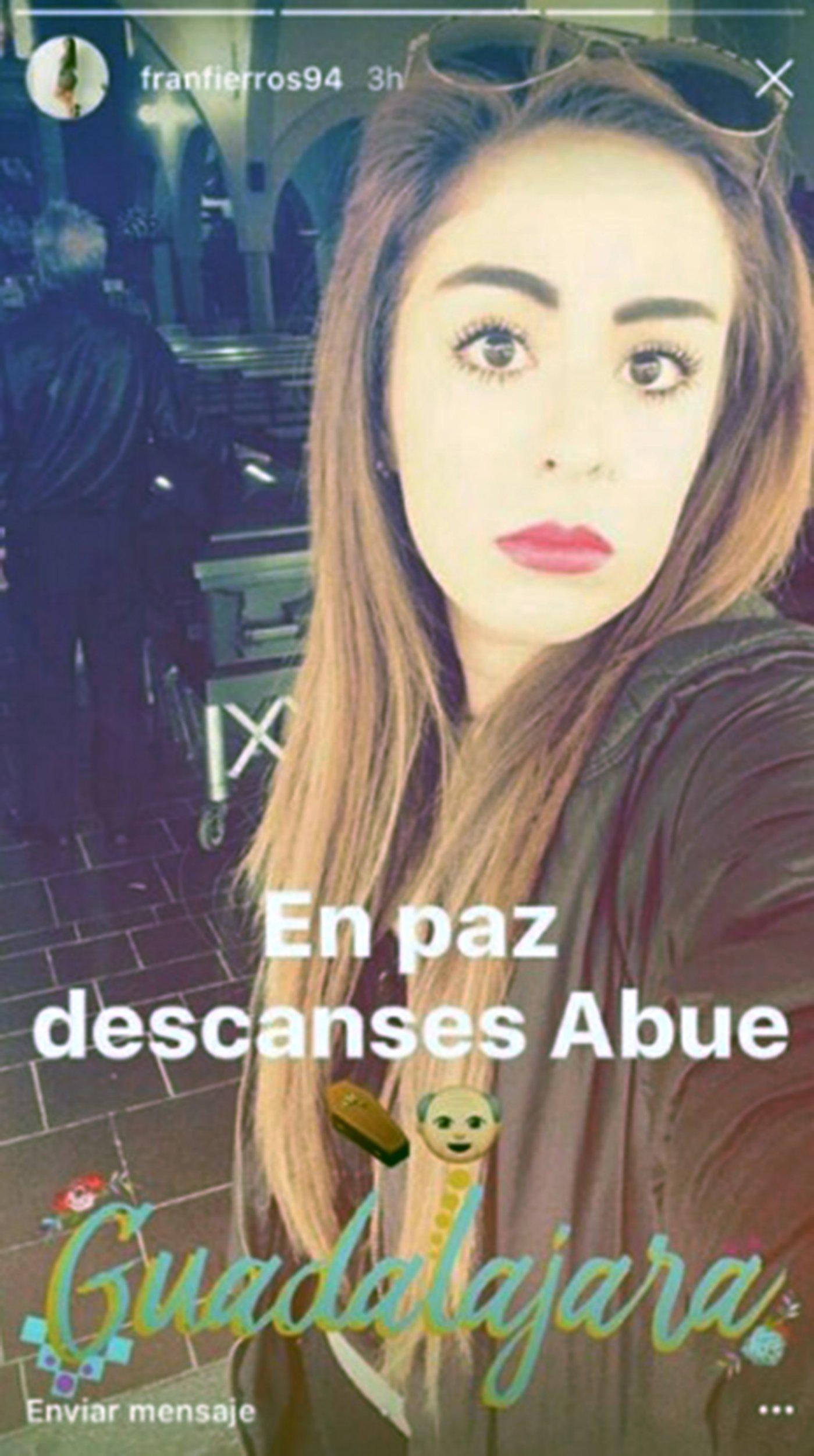 "Pic shows: Francia Fierros Palomino pictured at the funeral. A young woman has come under fire on social media after she posted a selfie - taken at her grandfather's funeral with the coffin in the background. The woman, named Francia Fierros Palomino on Facebook, snapped herself in the church where the funeral of her grandfather took place, in the city of Guadalajara, in the western Mexican state of Jalisco, and posing with makeup and black dress. She received several critics for her sensual pose and was nicknamed by netizens as LadyFuneral. She posted online the selfie in the church with the message ""Rest in Peace, granddad, and with the symbol of a coffin and a grandfather. After the funeral, she also posted online a picture of herself with black trousers and shirt and posing in front of a mirror, with the message ""coming back from funeral, Rest in Peace granddad"". According to local media, the woman usually posts this kind of selfies in her Facebook account, showing herself in sensual poses and with different kind of clothes. But for many, adding the funeral background was simply tasteless and left of the target of widespread criticism. Katerin Tellez wrote: ""If she was my daughter and was my father funeral I would have taken her away from there. What a lack of respect."" And Maggie Muzher said: ""better to be dead than watching the stupidity of his granddaughter."" And Luis Ramirez Palacios also criticized her makeup, saying: ""She is the person who looks like the dead with all that makeup on her face."" (ends)"